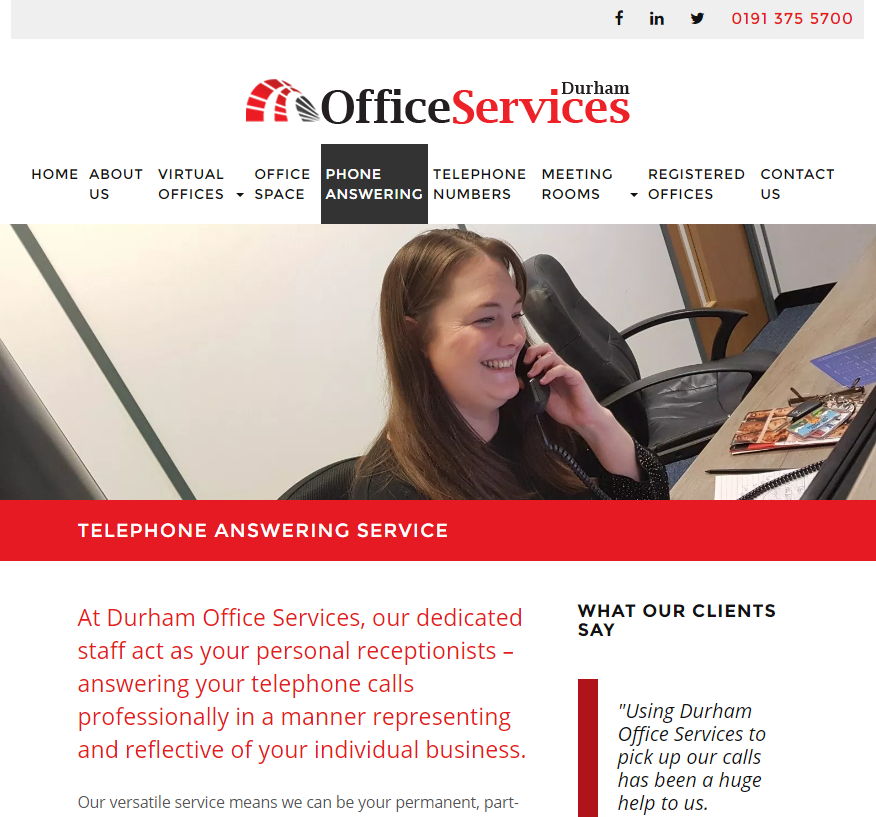 Website design visual for Durham Office Services website design project
