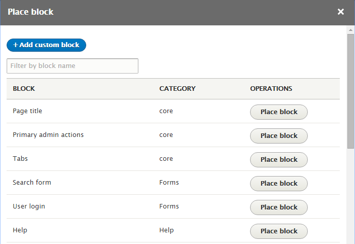 Drupal 8 blocks administration