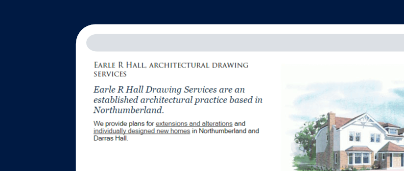 Website design for Earle Hall in Ponteland