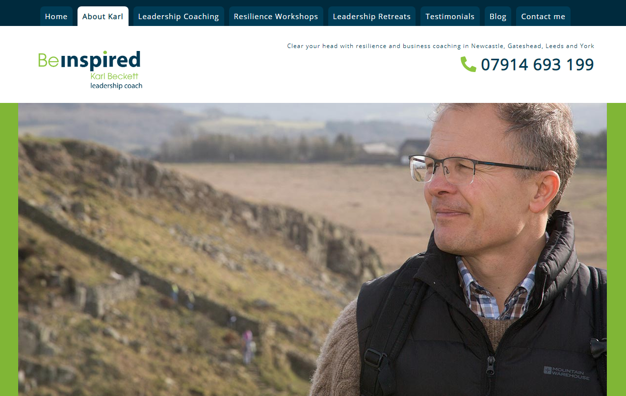 Northumberland website design project for Karl Beckett