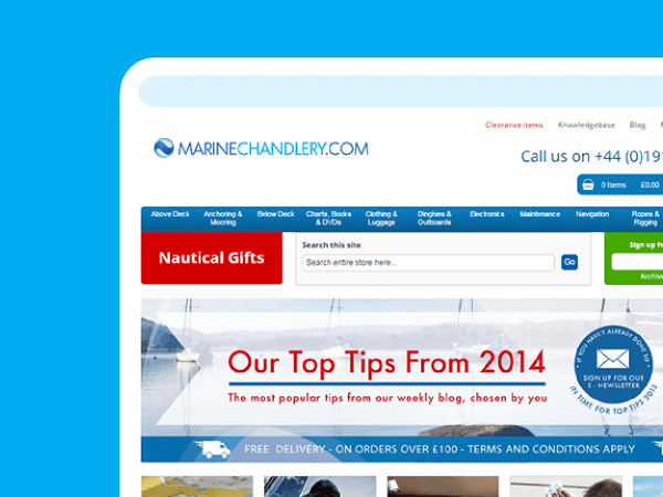 Magento migration & build - web portfolio entry for Marine Chandlery