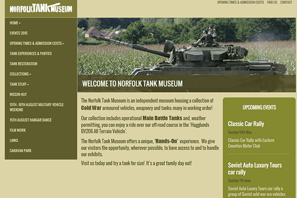 Responsive WordPress website design for Norfolk Tank Museum