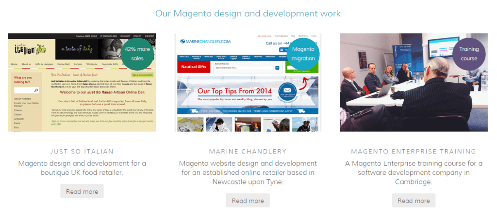 Looking at a Magento agency's portfolio is a good guide to their experience