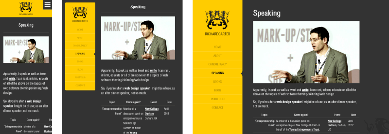 Example of responsive website design