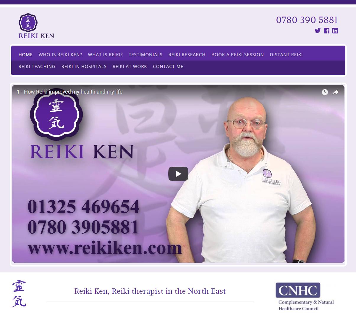 Website design Darlington for Reiki Ken