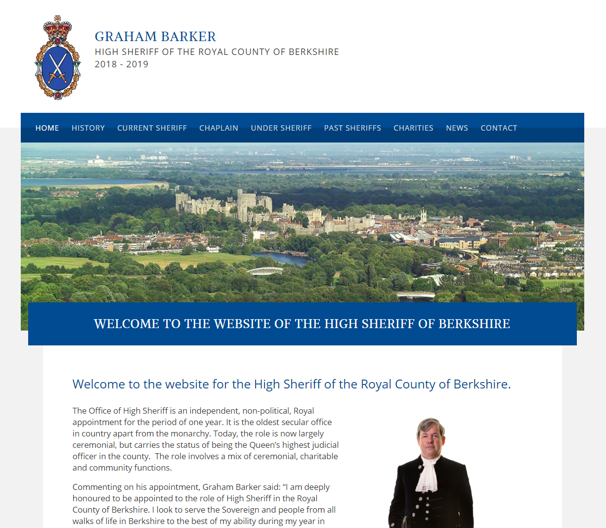 Website design for the High Sheriff of Berkshire