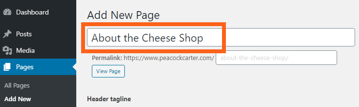 WordPress page titles for SEO