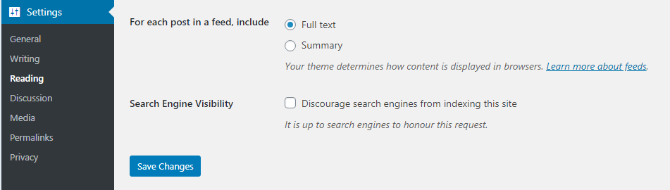 WordPress - discourage search engines from indexing this site