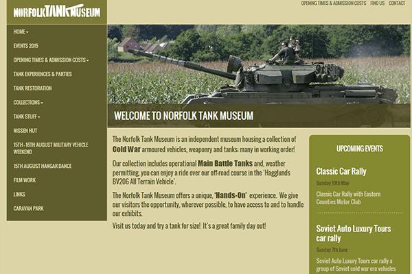 Responsive WordPress website design for Norfolk Tank Museum